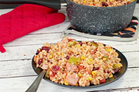 healthy ham rice and beans