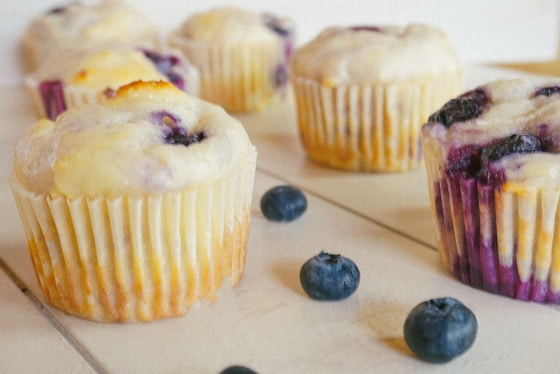 distant shot of blueberry banana muffins