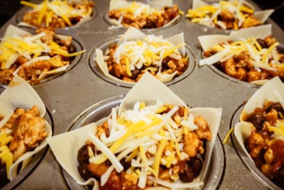 chicken taco wonton cheese closeup