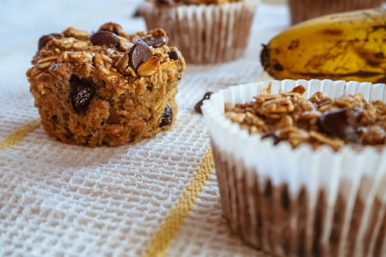 close up banana chocolate chip muffins