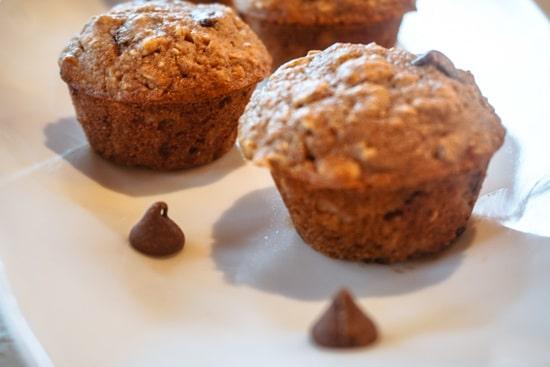 chocolate chip muffins close up
