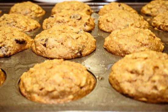 chocolate chip muffins baking