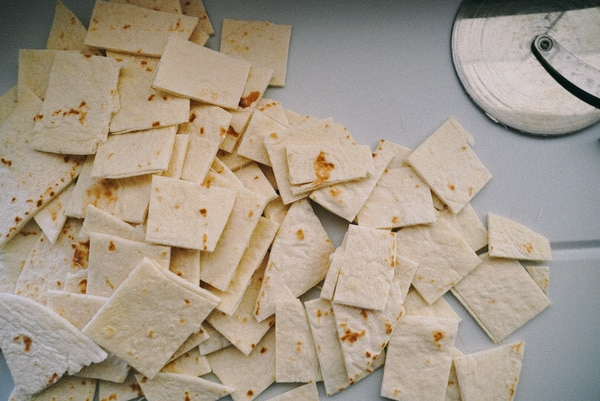 cut up tortillas for baked cinnamon chips