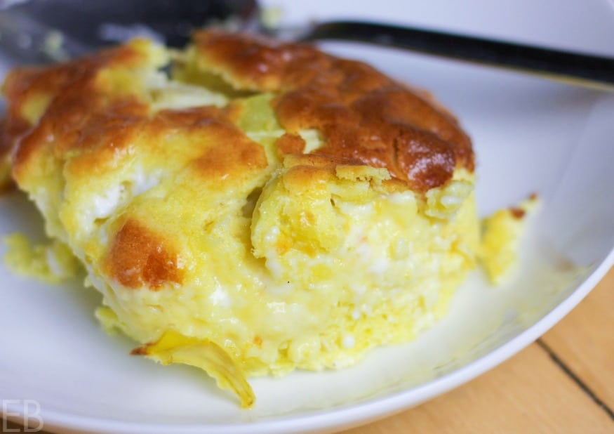 Artichoke feta breakfast casserole close up