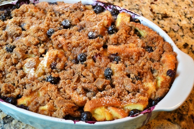blueberry french toast in a round white dish