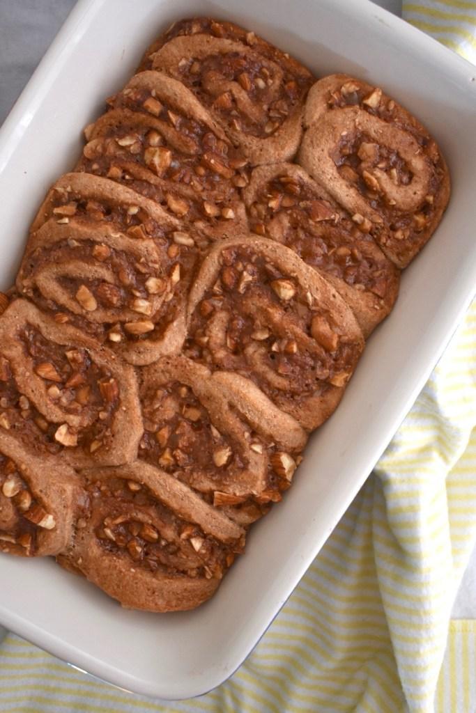 date caramel nut rolls in a pan