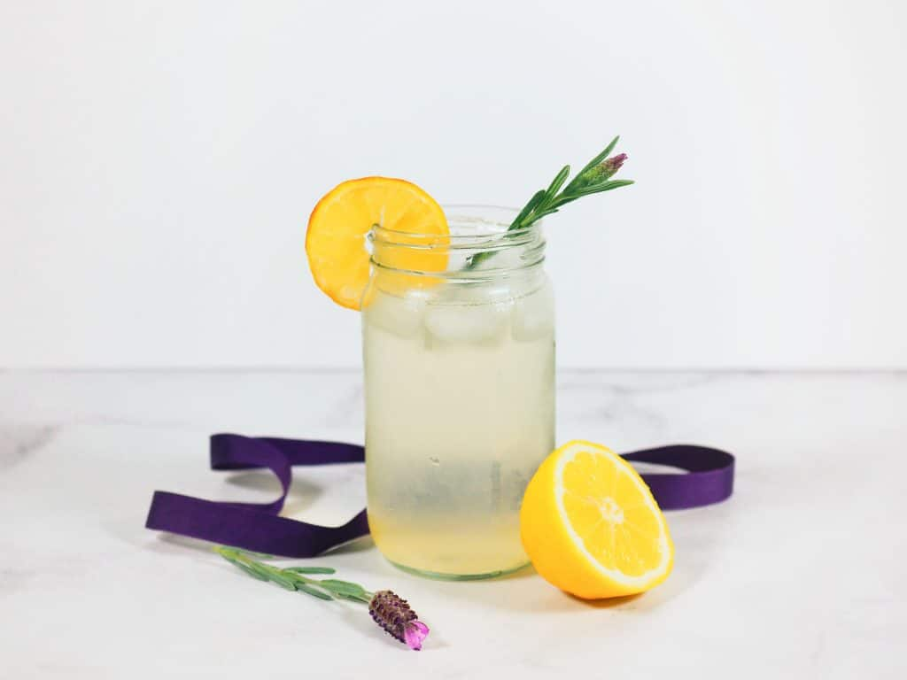 lavender lemonade in a mason jar