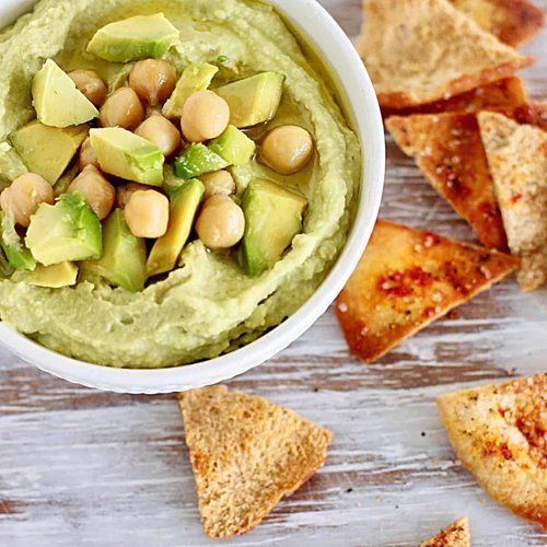 avocado hummus close up with chips