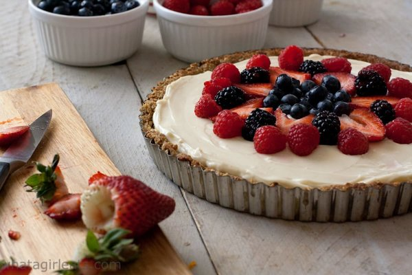 festive berry tart with red white and blue for 4th of july or memorial day party