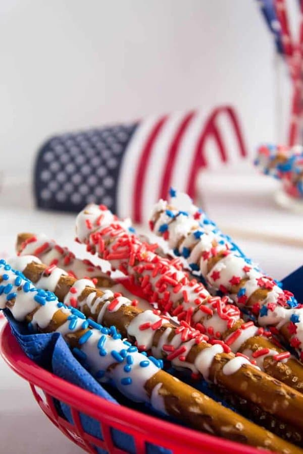 patriotic pretzels with red and blue white chocolate for memorial day