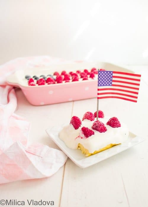 patriotic low carb cake with a USA flag