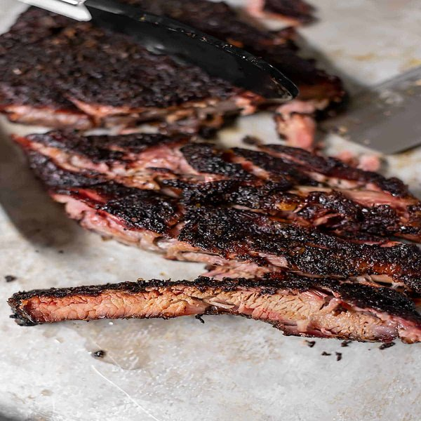 close up of pellet smoker ribs