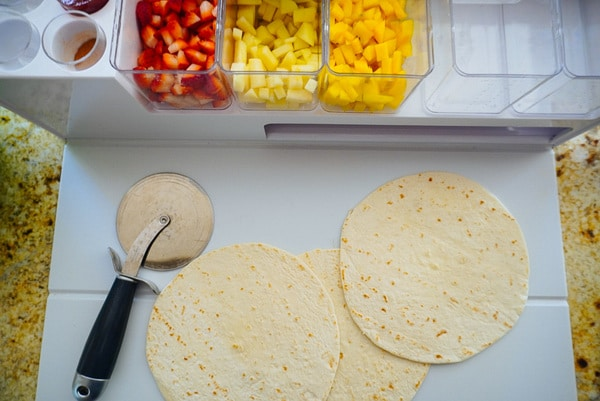 tortillas and cut up fruit for fruit salsa and baked cinnamon chips