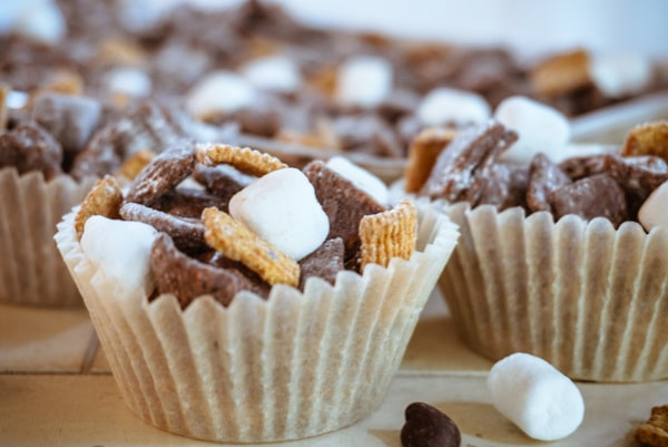 smores puppy chow in a muffin liner