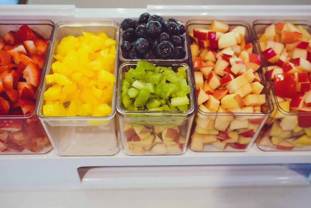 chopped up fruit