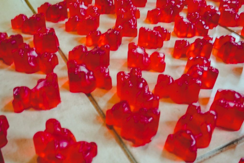 close up of gummy bears on a table