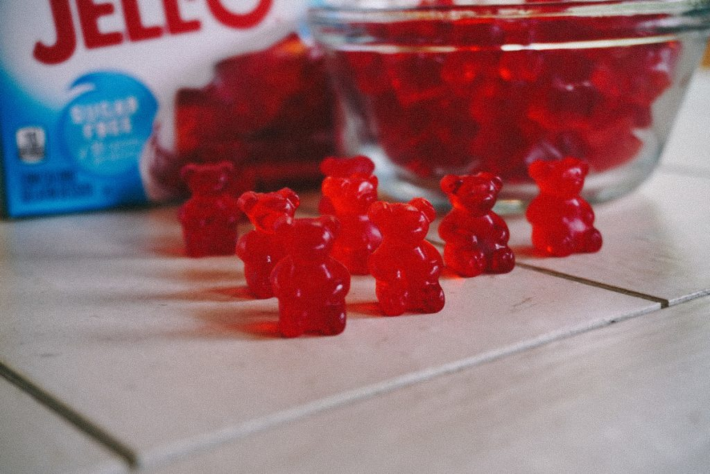 strawberry gummy bears on a table