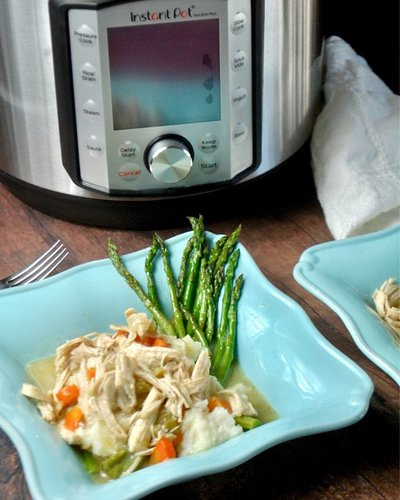 blue bowl with instant pot in background