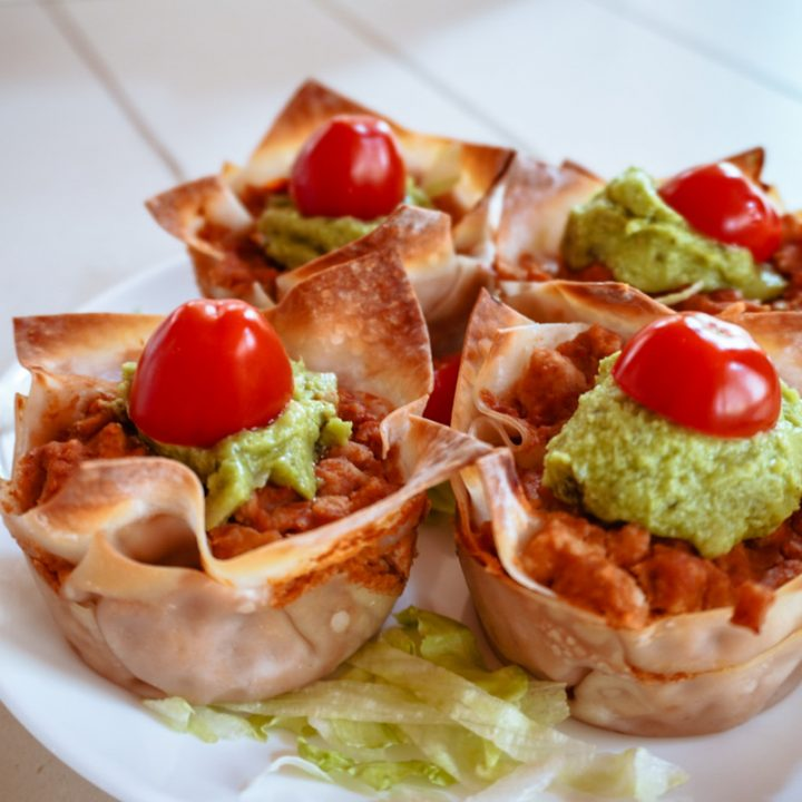 4 burrito cupcakes on a plate