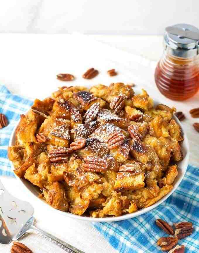 piece of french toast casserole in a bowl