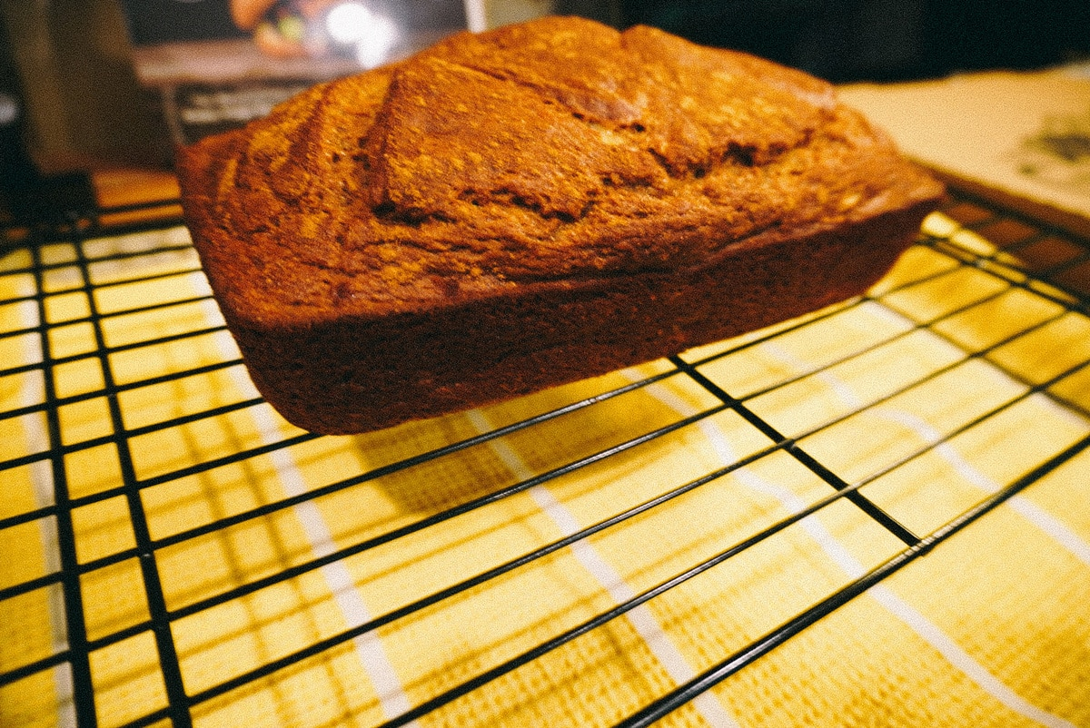 baked banana bread cooling on wire rack