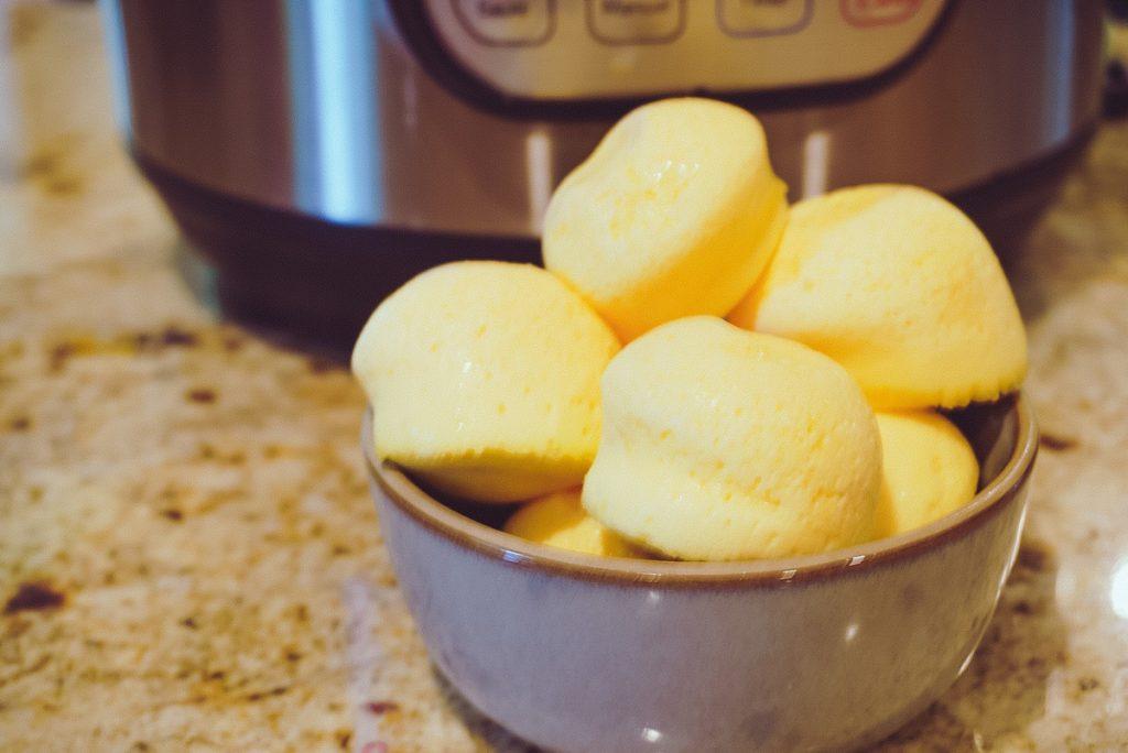 sous vide egg bites in a grey bowl