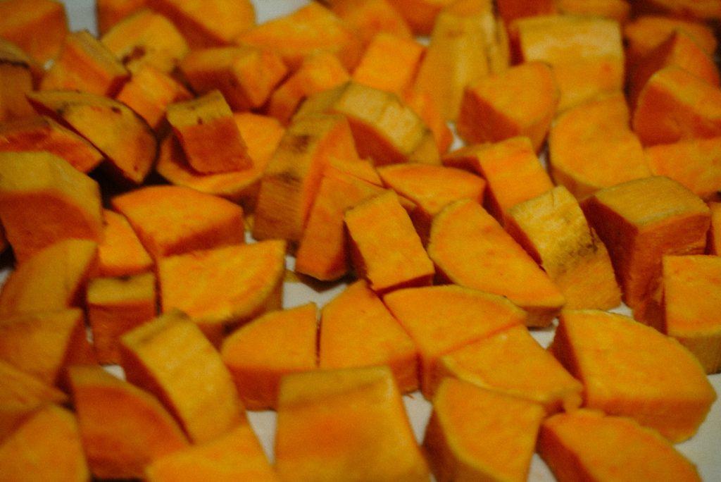 chopped up sweet potatoes