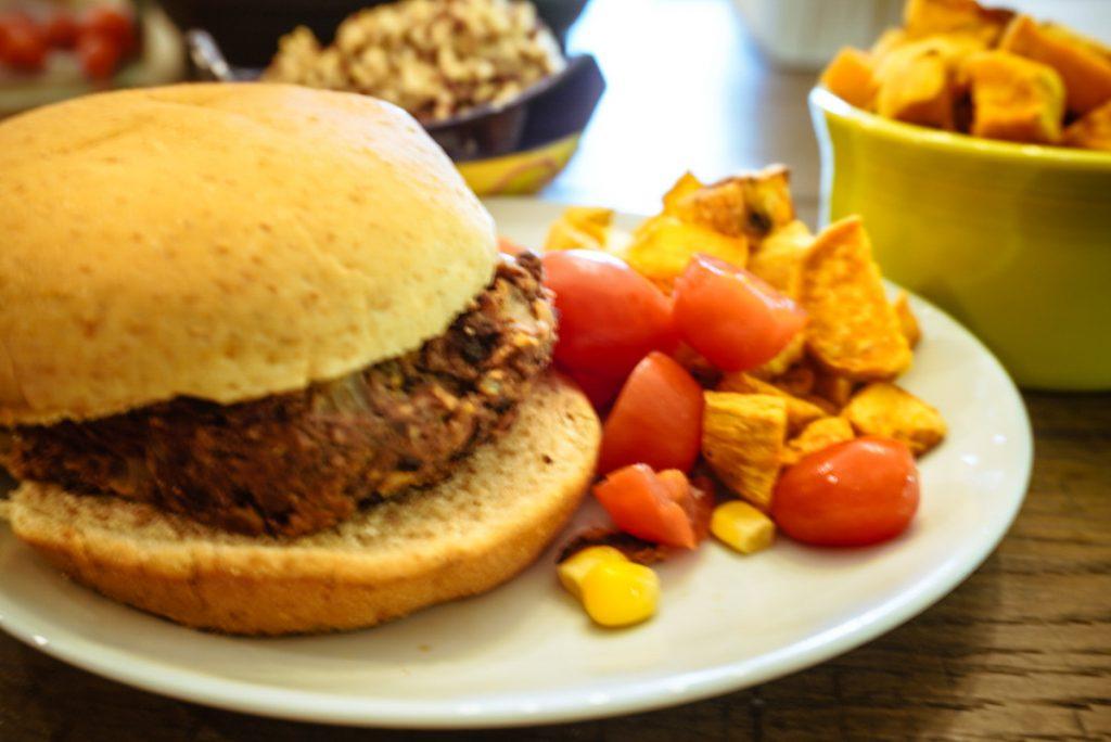 plain burger on a plate