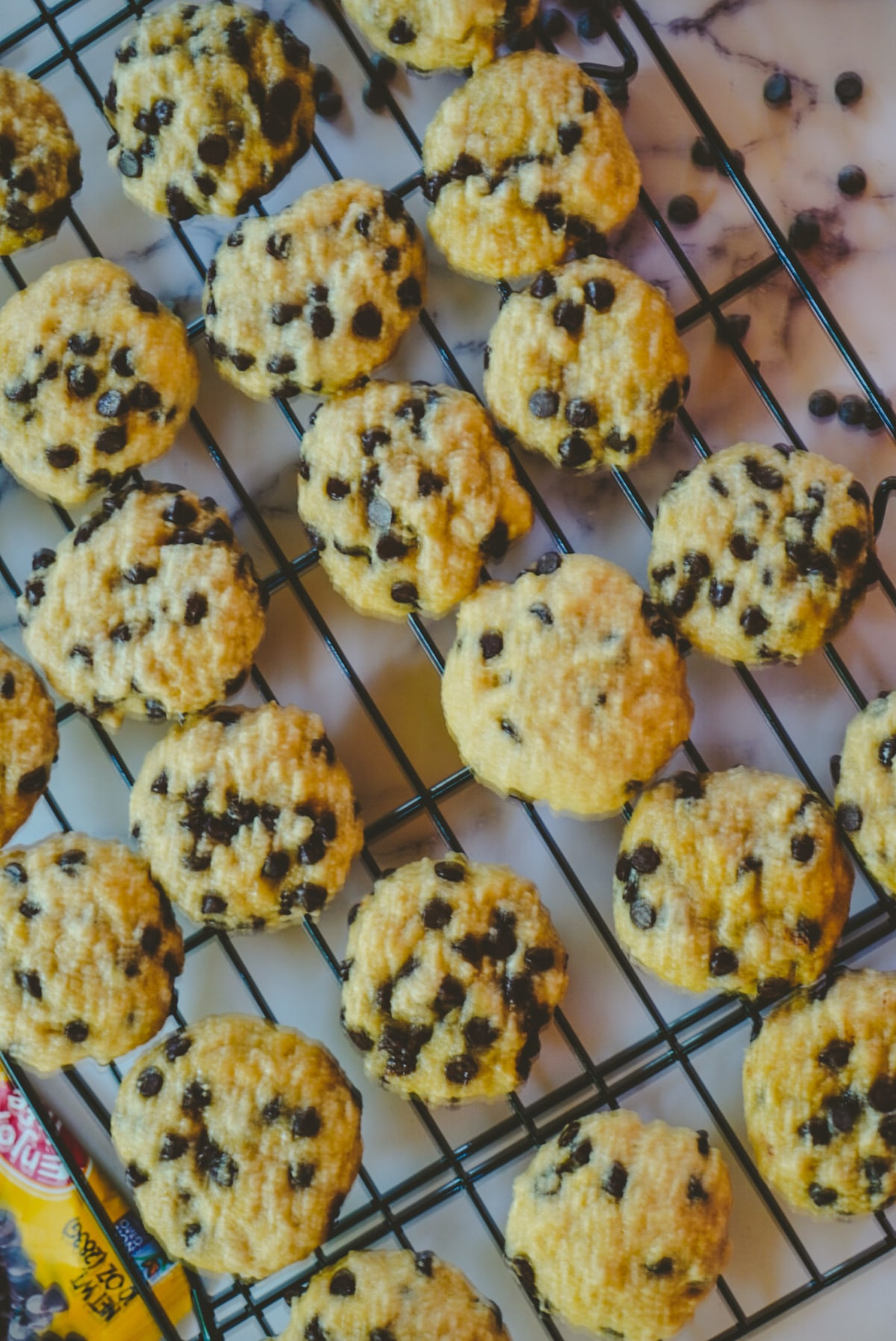 chocolate chip cookies on a cooling tray