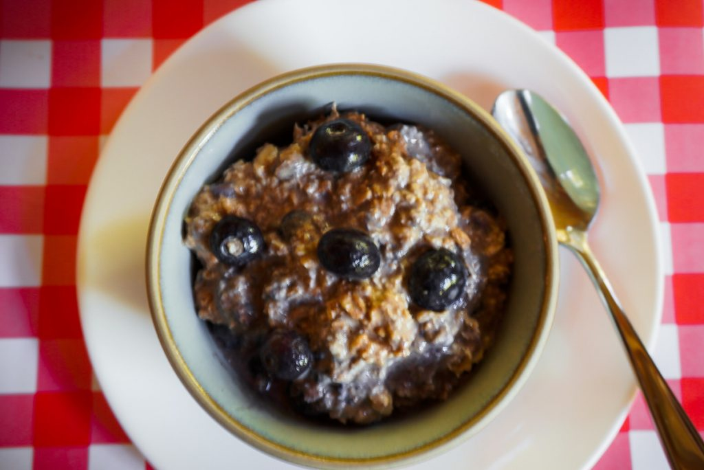 blueberry overnight oats in a white bowl