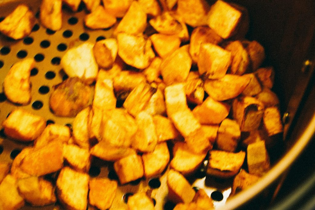 cooked sweet potatoes in air fryer