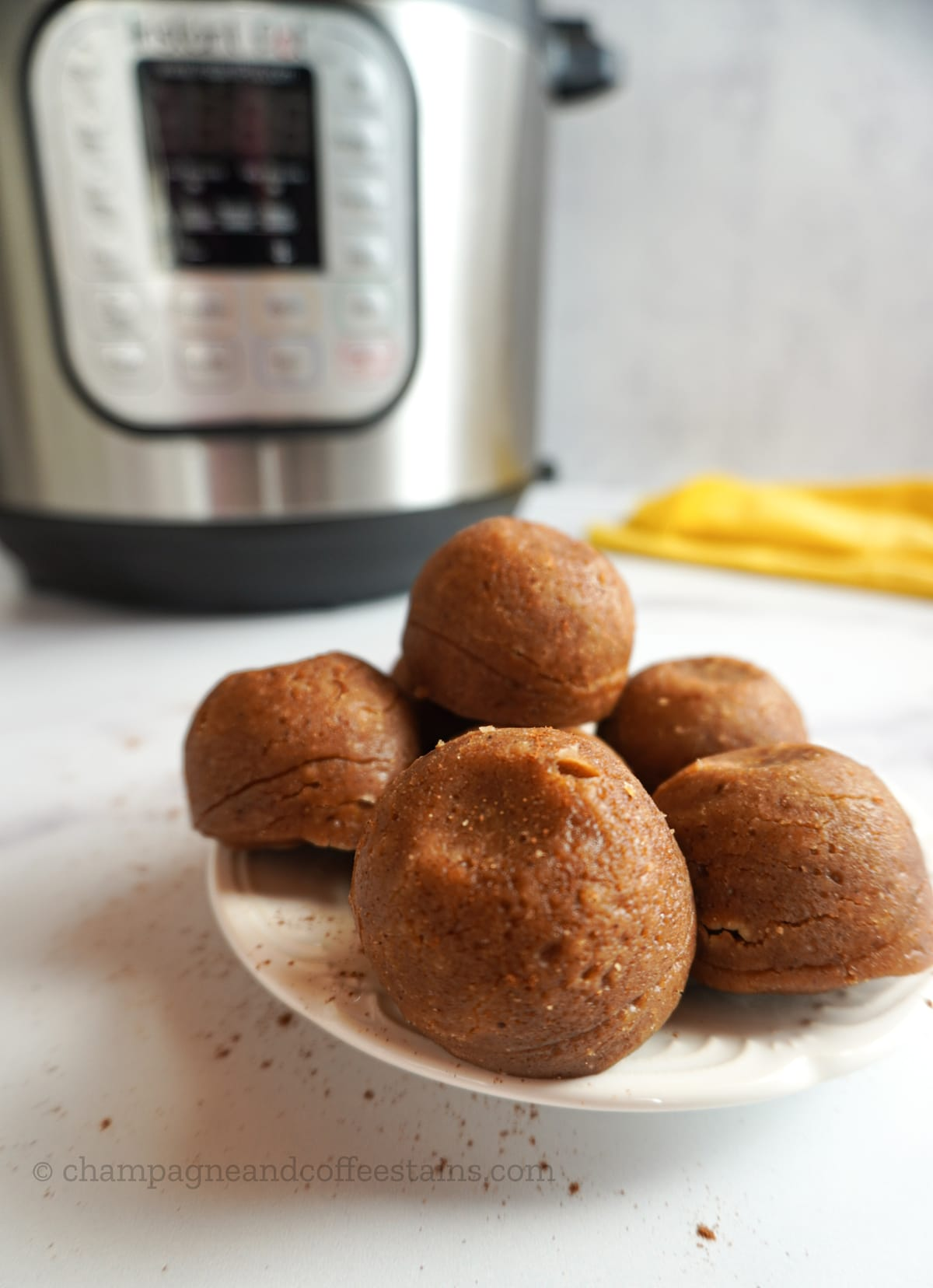 pumpkin spice bites on a plate with an instant pot in the background