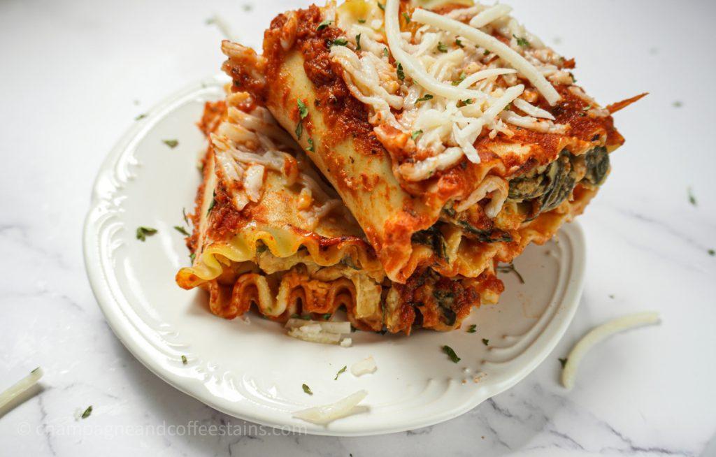 vegan lasagna rollups on a plate