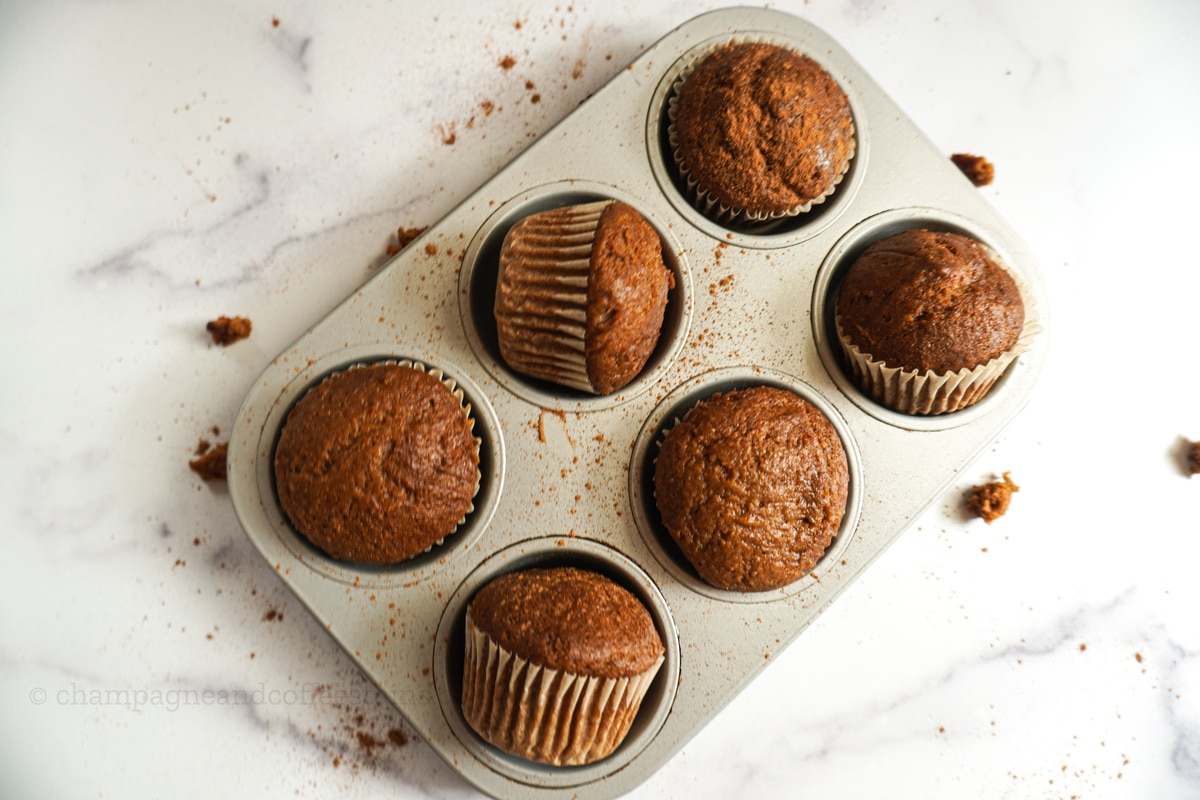 healthy pumpkin spice muffins in a cupcake tin