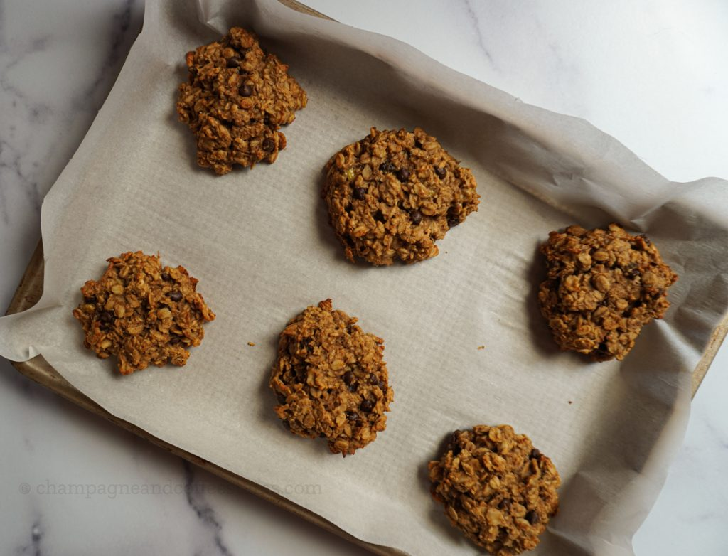 peanut butter banana oatmeal cookies on a tray