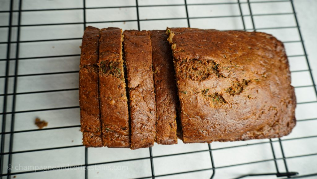 sliced up loaf of zucchini bread