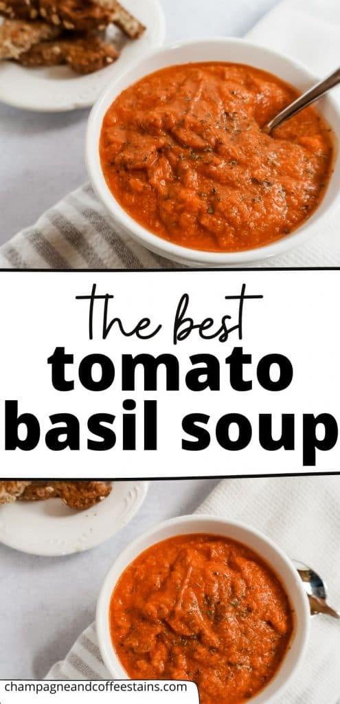 creamy tomato basil soup pinterest pin