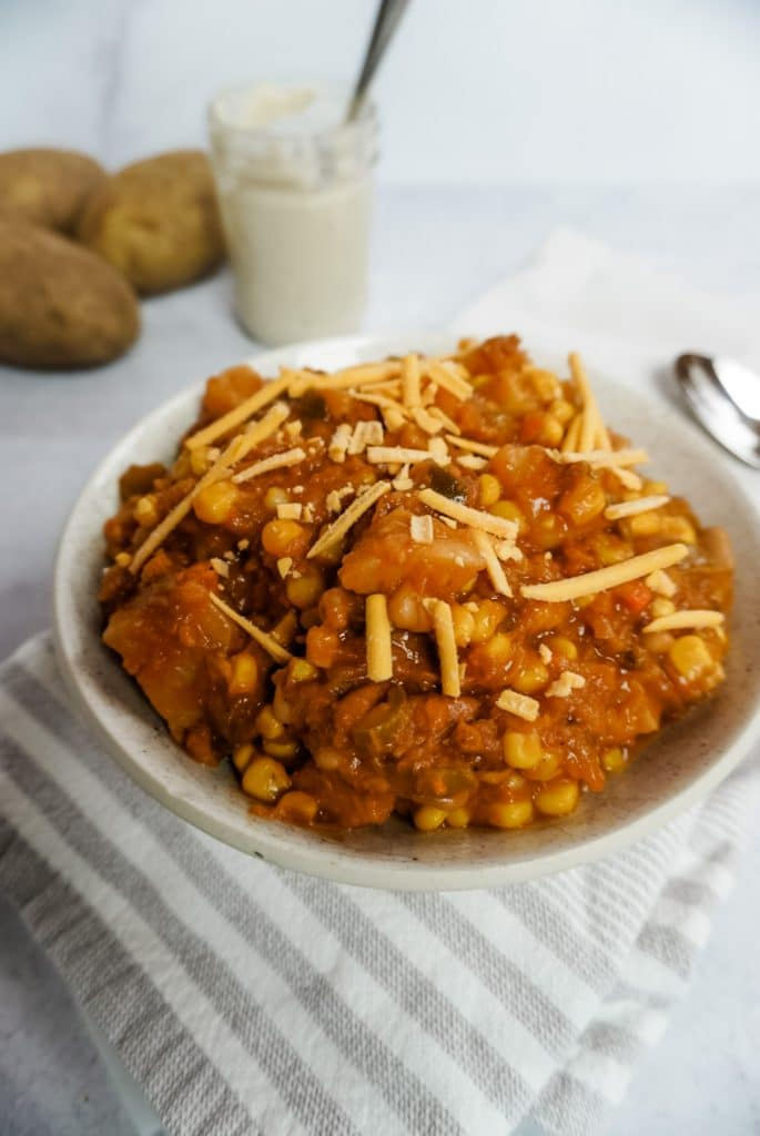 close up of buttternut chili in a bowl