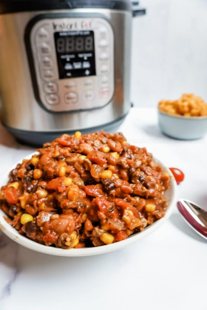 instant pot chili with an instant pot in the background
