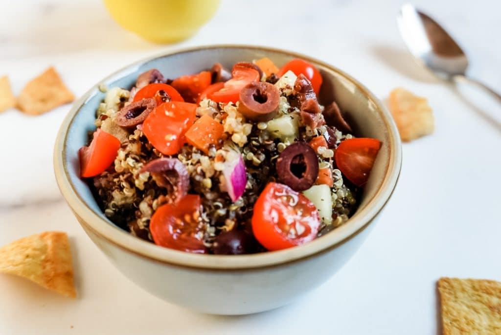 side bowl of greek quinoa salad
