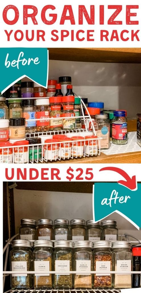 how to organize spice rack pinterest pin