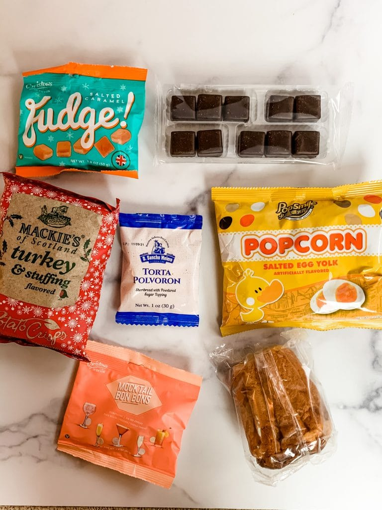 snacks inside the universal yums holiday box