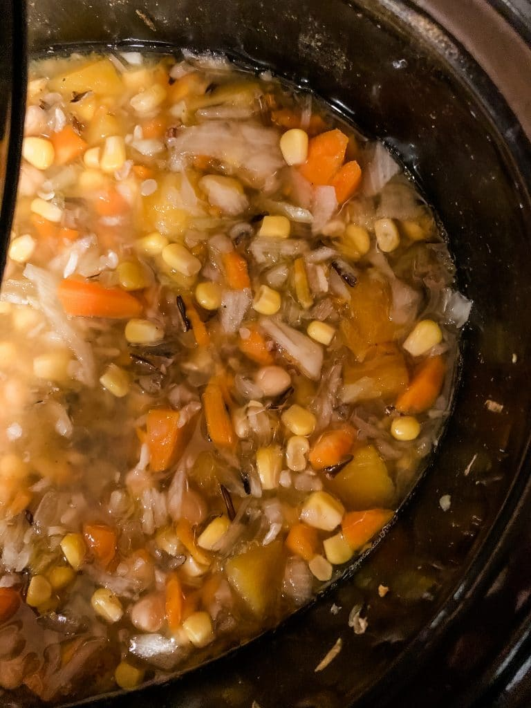 wild rice soup in a slow cooker
