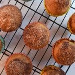 overhead banana cinnamon muffins on a cooling rack