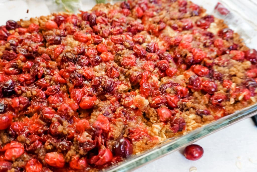 cranberry crisp in a casserole dish close up