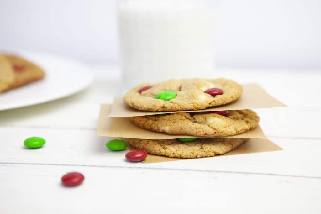 m&m cookies stacked