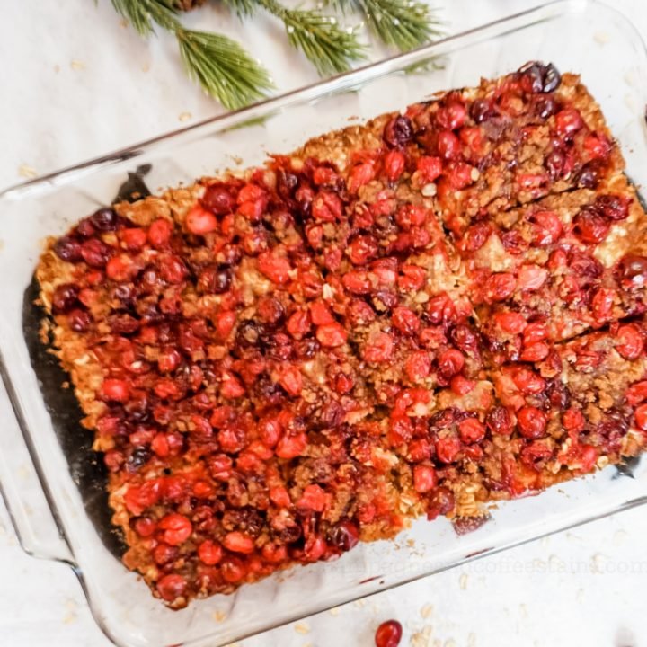 overhead cranberry crisp in a casserole dish