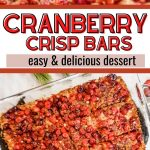 cranberry crisp bars pinterest pin