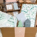 winter pillow, village houses, art work, snowflake and sled in the decocrated box