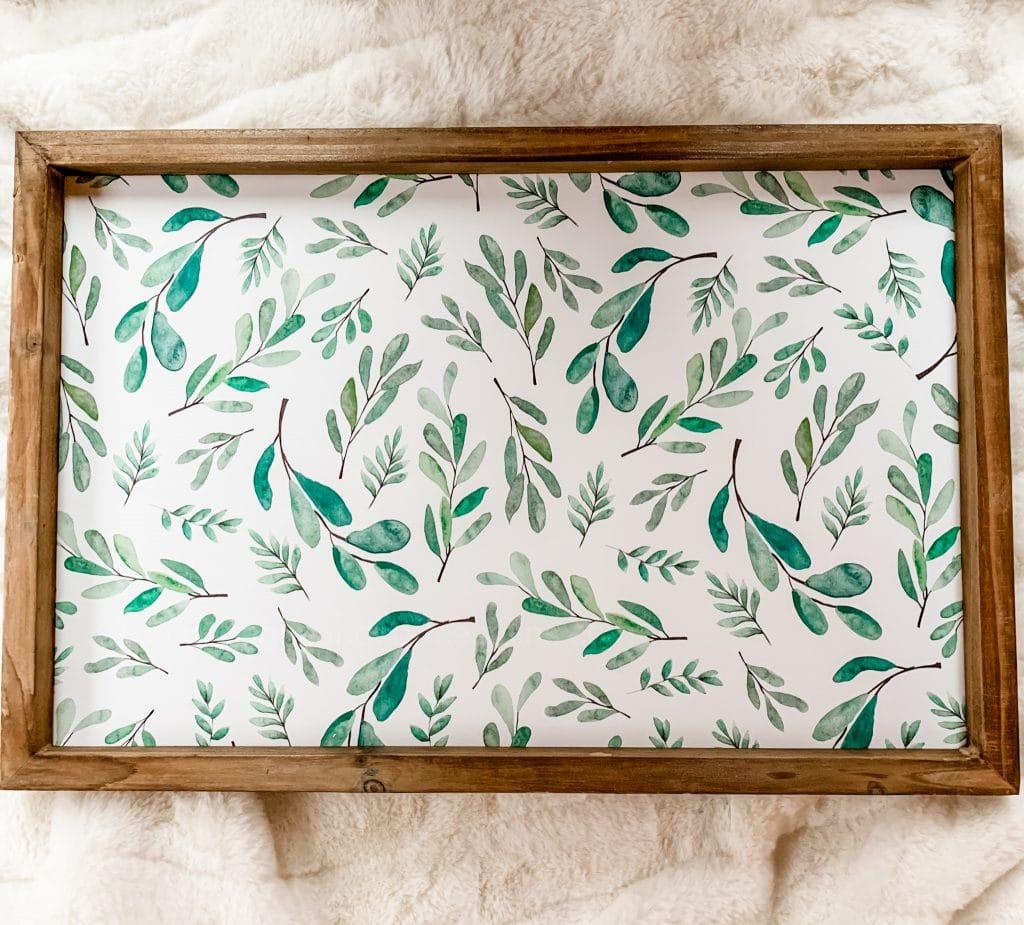 framed art with leaves